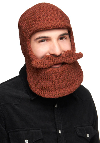 Beard-ly Enough Hat - Brown, Knitted, Rustic, Quirky, Winter