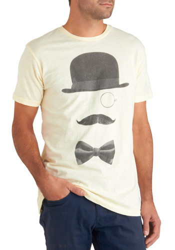 Prince of Monocle Tee - Cotton, White, Black, Casual, Short Sleeves, Mid-length
