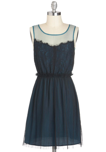Hide and Chic Dress - Sheer, Short, Blue, Black, Lace, Party, A-line, Sleeveless, Tis the Season Sale, Lace
