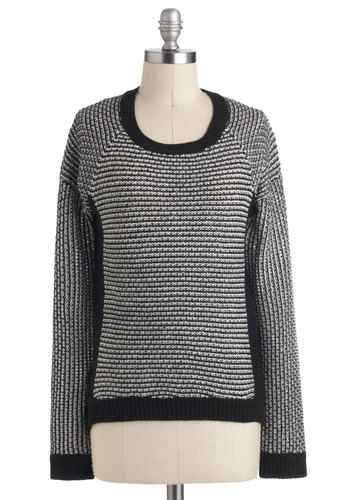 Black Box Theater Sweater - Black, White, Casual, Long Sleeve, Mid-length, Menswear Inspired, Fall