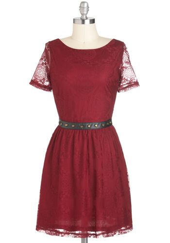 Lace Wine and Dine Dress - Sheer, Short, Red, Lace, Studs, Party, A-line, Short Sleeves, Solid, Fall, Tis the Season Sale