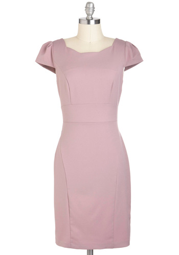Feeling Mauve-elous Dress - Solid, Work, Mid-length, Pink, Shift, Cap Sleeves, Vintage Inspired, 50s, Pastel