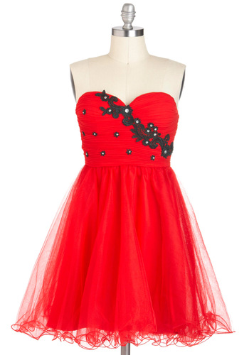 Cherish My Maraschino Dress - Red, Black, Embroidery, Rhinestones, Party, Fit & Flare, Strapless, Prom, Mid-length, Holiday Party, Special Occasion