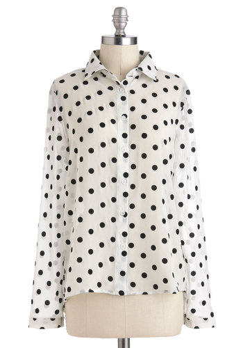 Speckled Splendor Top - White, Black, Polka Dots, Buttons, Long Sleeve, Sheer, Mid-length, Work, Casual, White, Long Sleeve