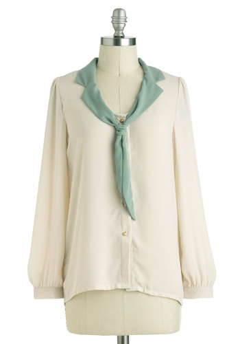 Lakehouse of Style Top - Sheer, Mid-length, White, Mint, Solid, Buttons, Tie Neck, Work, Long Sleeve, Vintage Inspired, 30s