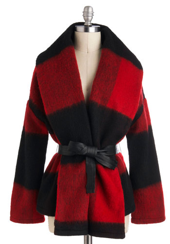 Around the Embers Coat by BB Dakota - Mid-length, 3, Red, Black, Long Sleeve, Fall, Belted, Casual, Rustic, Tis the Season Sale