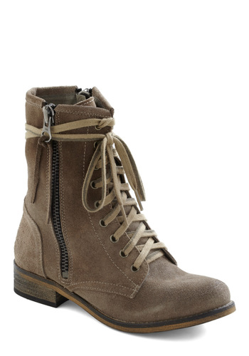 Zippy Chick Boot - Low, Leather, Tan, Casual, Military, Rustic, Fall