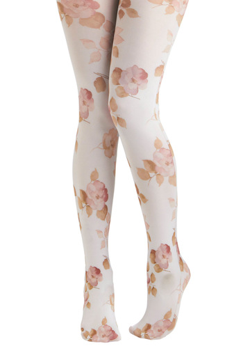 Pastel Pedals Tights - Multi, White, Floral, Party, Casual, Fairytale, Novelty Print, Pastel