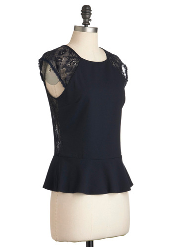 Back in First Lace Top - Mid-length, Sheer, Blue, Solid, Buttons, Lace, Cap Sleeves, Party, Film Noir, Vintage Inspired
