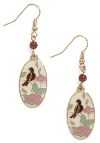 Scenes from the Sunroom Earrings - Multi, Print with Animals, Beads, 20s