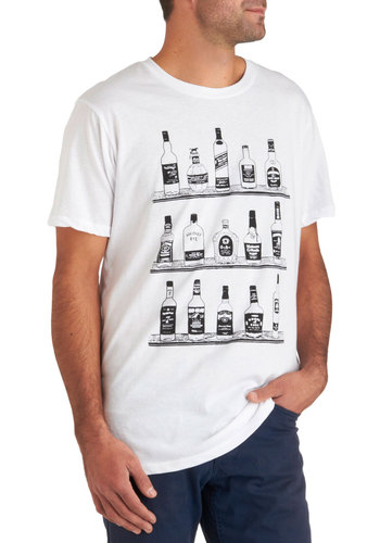 We've Got Spirits Tee - White, Black, Casual, Short Sleeves, Novelty Print, Long, Jersey