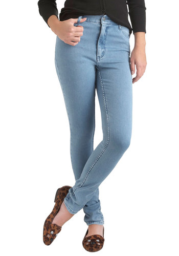 SECOND SKIN  JEANS in Light Blue - Cotton, Blue, Solid, Casual, Fall, Denim