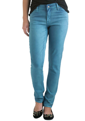 SOLID JEAN in OCEAN by Cheap Monday - Blue, Solid, Pockets, Casual, Vintage Inspired, Denim