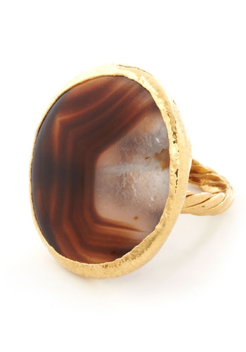 Bedrock of Beauty Ring by Dara Ettinger - Solid, Party, Boho, Gold, Brown