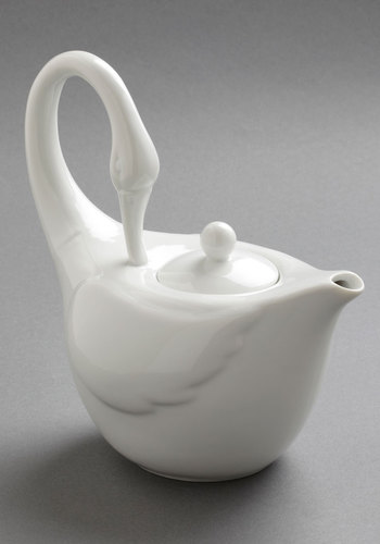 Swans Upon a Time Tea Pot - White, Vintage Inspired, Statement, Minimal, Holiday Sale, Daytime Party