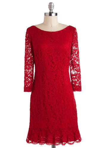 Blazing Beauty Dress - Red, Lace, Ruffles, Party, Sheath / Shift, Long Sleeve, Mid-length, Sheer, Holiday Party, Film Noir, Vintage Inspired, 30s, Luxe, Pinup