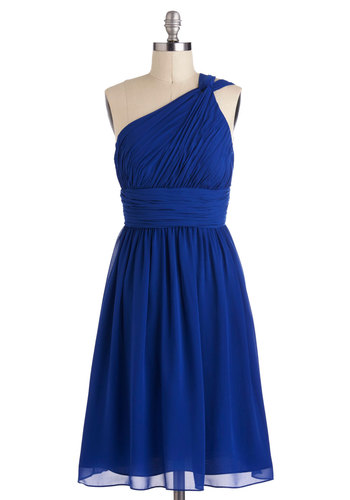 Moonlight Marvel Dress - Blue, Solid, Wedding, A-line, One Shoulder, Ruching, Long, Luxe, Cocktail, Formal, Prom, Bridesmaid, Better, Exclusives