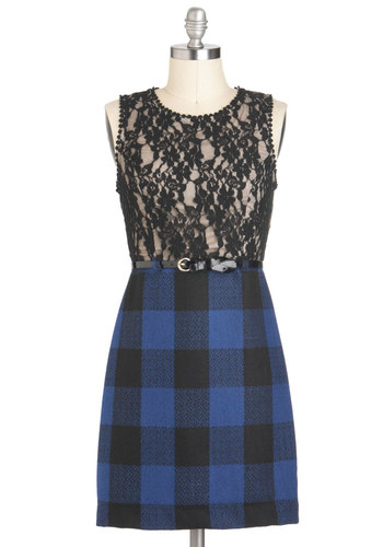 Twofer Fun Dress - Black, Plaid, Lace, Belted, Party, Sleeveless, Short, Blue, Twofer, Fall