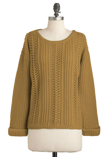 Good Company Sweater in Gold - Sheer, Mid-length, Gold, Solid, Knitted, Casual, Long Sleeve, 90s, Fall