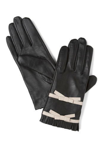 Chic Sophisticate Gloves by Alice Hannah London - Leather, Black, White, Solid, Bows, Pleats, Luxe, Winter, 20s, Holiday Party