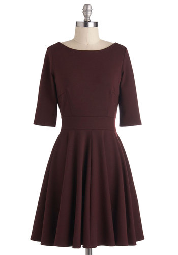 Merlot Melange Dress - Red, Solid, Work, A-line, 3/4 Sleeve, Fall, Knit, Mid-length