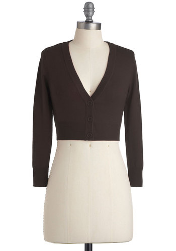 The Dream of the Crop Cardigan in Coffee - Brown, Solid, Buttons, Work, Long Sleeve, Casual, Short