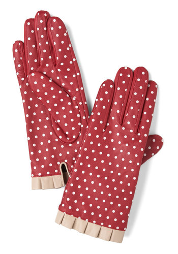Handshake It Up Gloves - Leather, Red, Tan / Cream, Polka Dots, Pleats, Winter, Holiday Party, International Designer