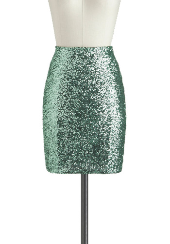 Jade My Day Skirt - Green, Solid, Sequins, Party, Cocktail, Girls Night Out, Holiday Party, Vintage Inspired, Mini, Short