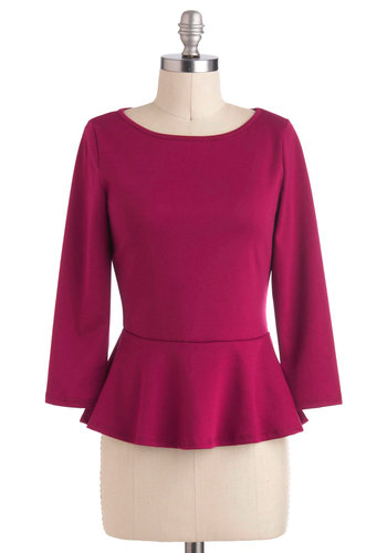 Peplum a Distance Top - Mid-length, Pink, Solid, Work, Peplum, Long Sleeve