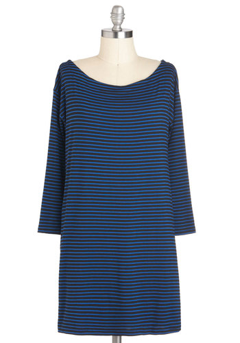 Tunic of Time Top - Long, Blue, Black, Stripes, Casual, Long Sleeve, Pockets