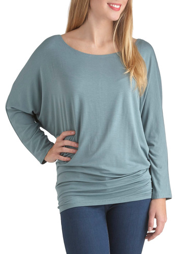 Open Sky Admiration Top in Blue - Blue, Solid, Casual, Long Sleeve, Minimal, Long