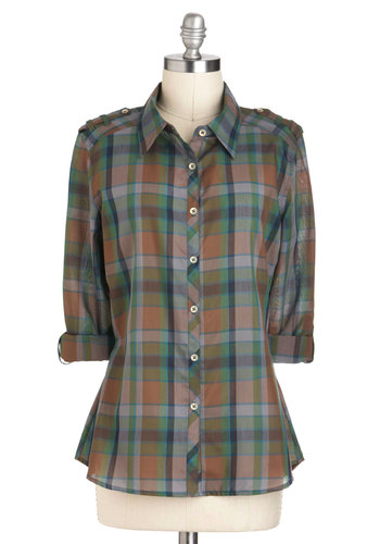 I Like Hike Top in Fern - Plaid, Buttons, Casual, Long Sleeve, Fall, Multi, Epaulets, Mid-length, Variation