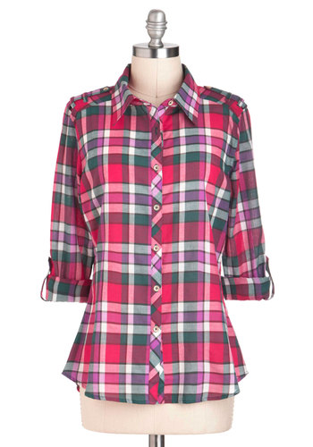 I Like Hike Top in Berry - Plaid, Buttons, Casual, Long Sleeve, Fall, Pink, Multi, Epaulets, Mid-length, Variation