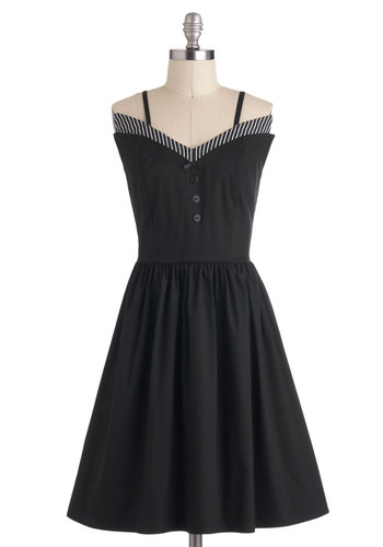 High Marks for Mod Dress - Cotton, Mid-length, Black, Solid, Daytime Party, Fit & Flare, Spaghetti Straps, Party, Rockabilly, Vintage Inspired, 50s, Pinup, Exclusives