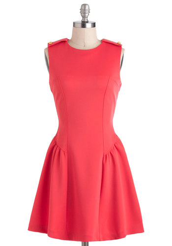 A Choral Line Dress - Orange, Solid, A-line, Sleeveless, Short, Casual, Vintage Inspired, Mod, Coral, Crew