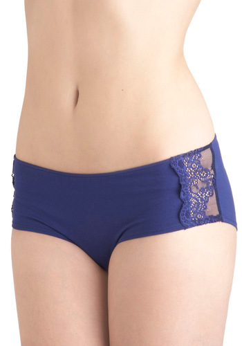 An Undeniable Glow Undies by Only Hearts - Blue, Solid, Lace
