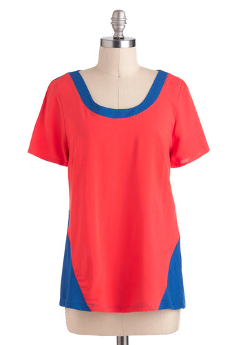 School Spirited Top - Blue, Casual, Short Sleeves, Mid-length, Red, Colorblocking, Scoop, Travel