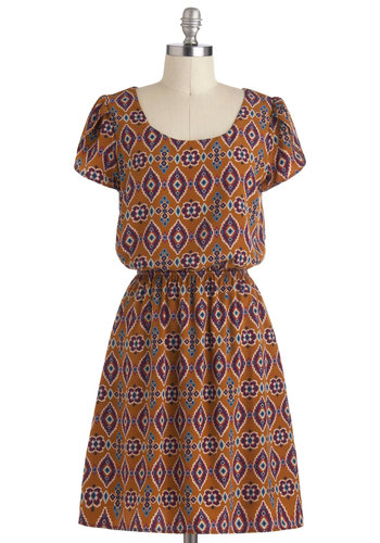 My Sedona Dress - Print, Casual, A-line, Short Sleeves, Mid-length, Multi, Tis the Season Sale, Scoop