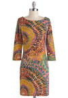 Magical Mystery Fleur Dress - Multi, Print, Party, Casual, 60s, 70s, Sheath / Shift, Long Sleeve, Fall, Jersey, Short