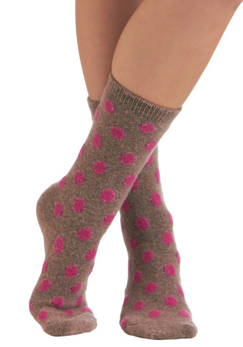 Dots Daily Socks in Mauve - Tan, Pink, Polka Dots, Casual