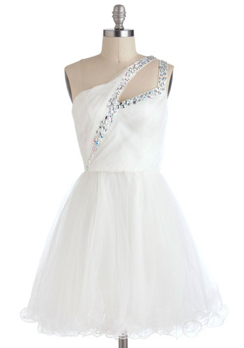 Swan Dance Dress - Mid-length, White, Solid, Rhinestones, Special Occasion, Prom, Vintage Inspired, Ballerina / Tutu, One Shoulder, Wedding, Bride
