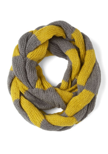So Taffy Together Scarf in Lemon - Yellow, Grey, Stripes, Knitted, Winter