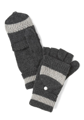 Coastal Highway Convertible Gloves - Grey, Stripes, Knitted, Winter