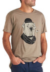 Gentleman's Best Friend Tee - Black, Casual, Short Sleeves, Jersey, Tan, Print with Animals, Long