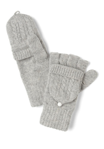 Close to Coast Convertible Gloves in Cloud - Grey, Solid, Knitted, Winter