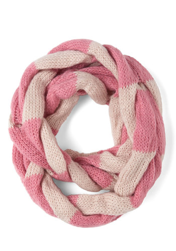So Taffy Together Scarf in Strawberry - Pink, Stripes, Winter, Knitted, White