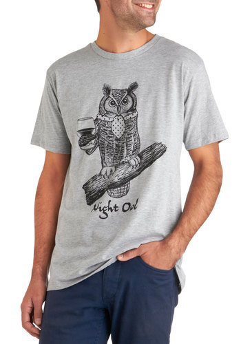After Owls Tee - Grey, Black, Casual, Short Sleeves, Owls, Long