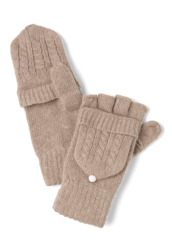 Close to Coast Convertible Gloves in Sand - Tan, Solid, Knitted, Winter