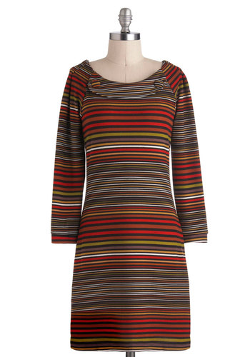 Wine and Dynamic Dress in Retro Stripes - Multi, Stripes, Casual, 60s, Shift, Long Sleeve, Fall, Short