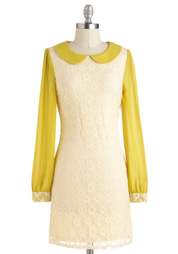 Citron the Town Dress - Peter Pan Collar, Work, Vintage Inspired, 60s, Shift, Long Sleeve, Mid-length, Cream, Yellow, Lace, Party, Summer
